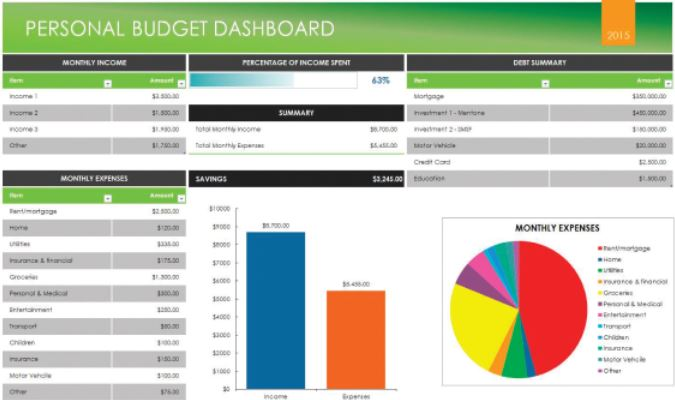build upon the initial benefits of your personal budget planner and receive monthly financial dashboards
